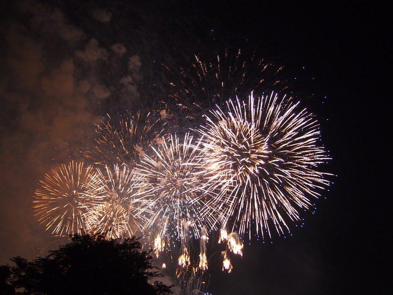 市川市花火大会の様子。とてもきれいな打ち上げ花火です。