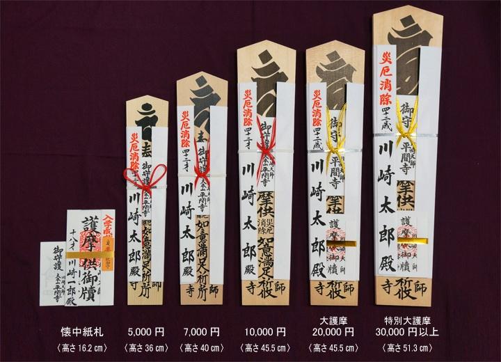 祈願料は5,000円からで、値段が上がるほど、もらえるお護摩札が大きくなります。