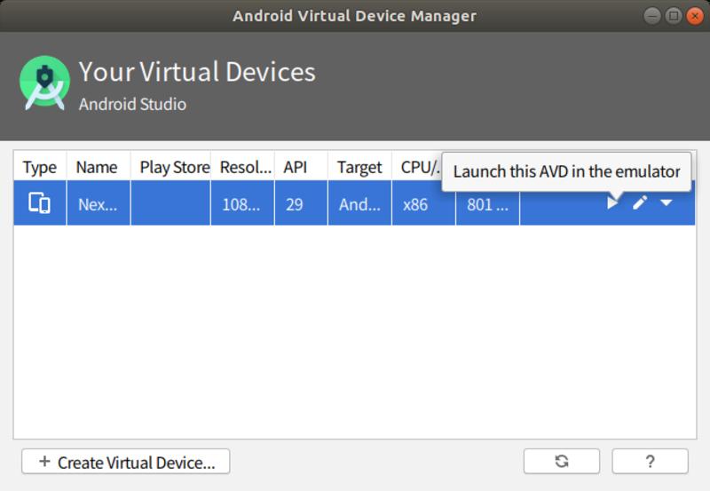 デフォルトで最新のAPIのADVが登録されているので、再生ボタンを押してエミュレータを起動してみましょう。