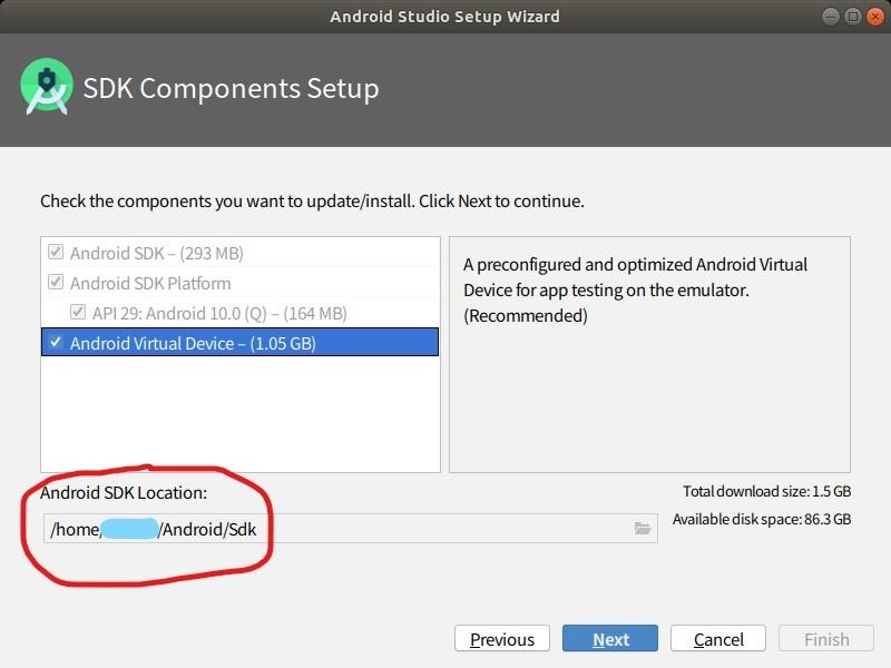 """SDKコンポーネントのセットアップ画面です。 エミュレーターでアプリをデバッグしたいので、「Android Virtual Device」にチェックを入れます。 また、赤枠内の""""Android SDK Location""""は後々使うので、メモしておきましょう。"""