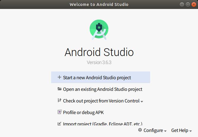 Android Studioの起動画面。